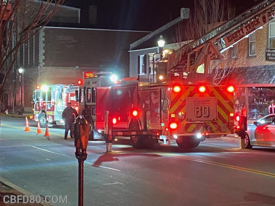 Engine 80 and Truck 80 Working an Inside Investigation on Locust Street